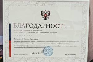 Благодарность Вильдановой Марине